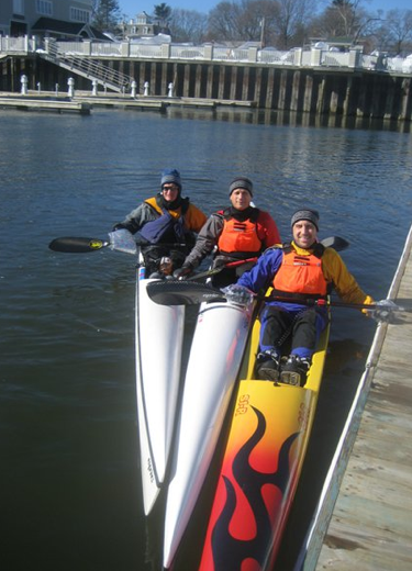 Tom, Steve and Mark Ready for Winter Paddle