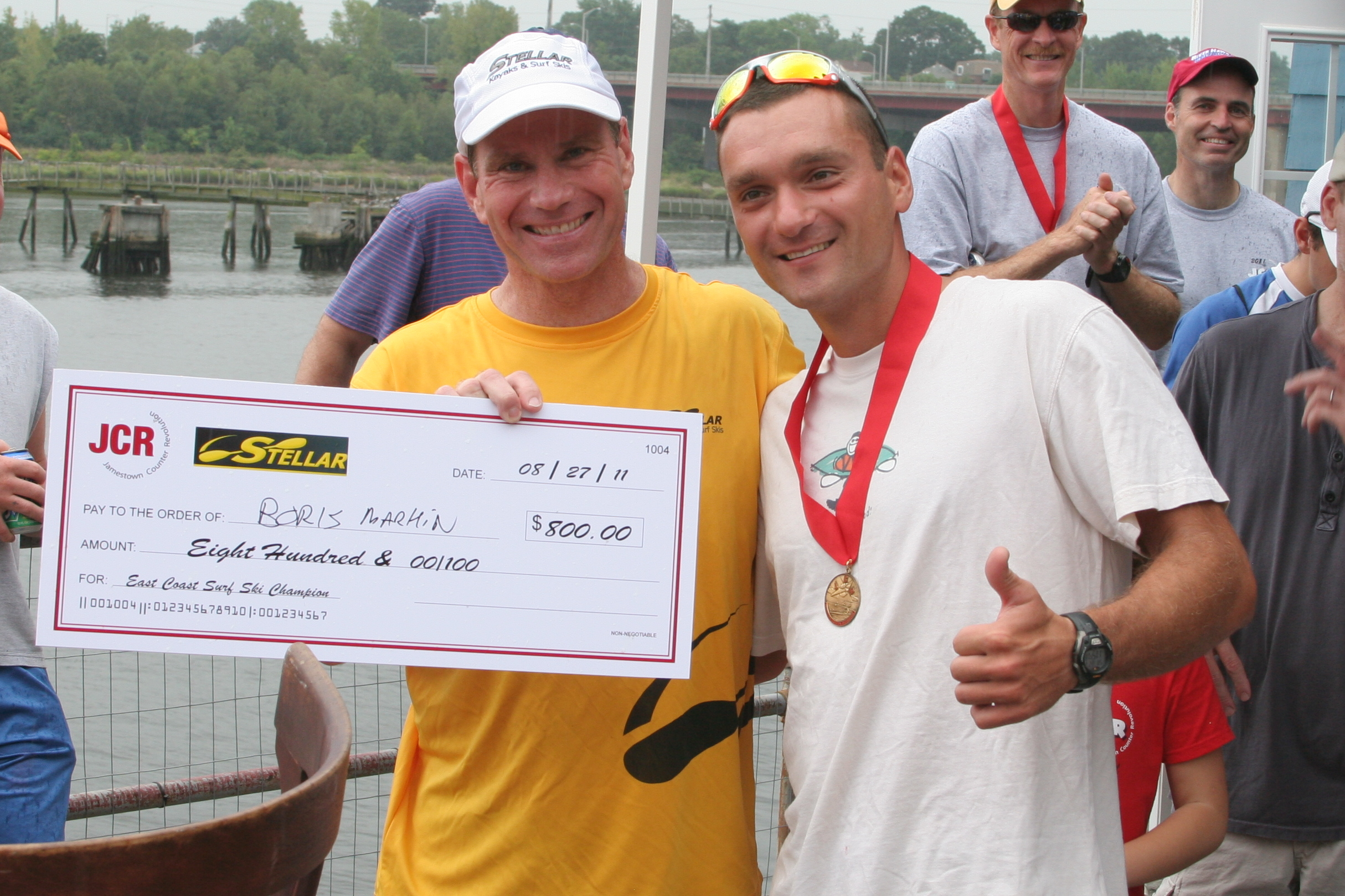 Wesley Presenting Check to Borys on behalf of Stellar at 2011 East Coast Championship