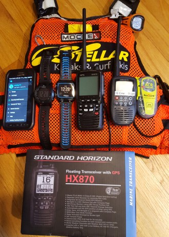 Samsung S6Active with Garmin Live Tracking with both Fenix 2, 920XT. HX870 VHF, Backup VHF,  Emergency Beacon, Mocke PFD.