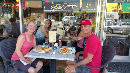 LouAnne and Ken fueling up for the 2015 Canadian Surfski Champs.